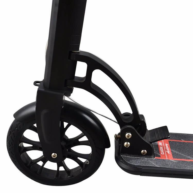 Городской взрослый самокат Urban Scooter XZ-129 Sport Pro, дисковый тормоз, амортизатор, колёса с протектором 200х40 мм, Чёрный - 2