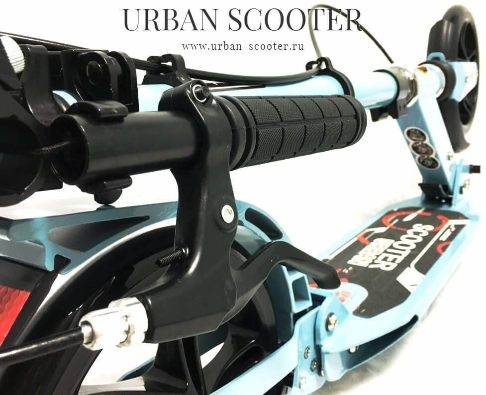 Городской самокат Urban Scooter SR2-018, ручной тормоз, 2 амортизатора, большие колёса 200 мм Голубой - 7