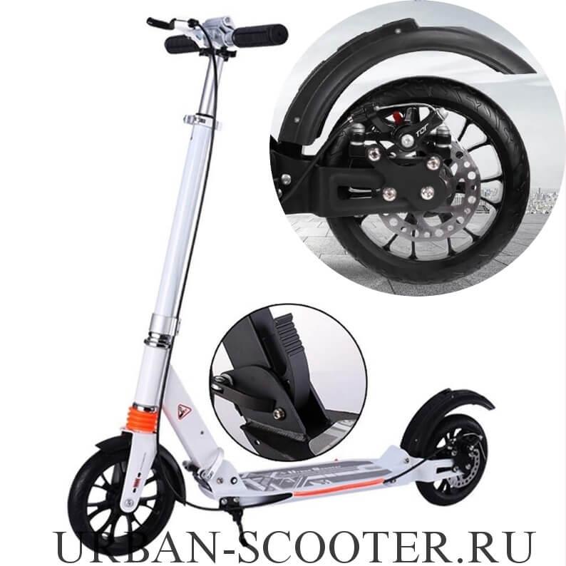 Городской самокат с дисковым тормозом Urban Scooter SR2-020 Белый - 1