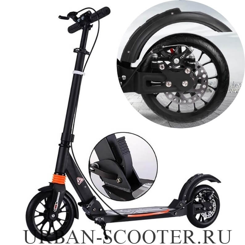 Городской самокат с дисковым тормозом Urban Scooter SR2-020 Чёрный - 1