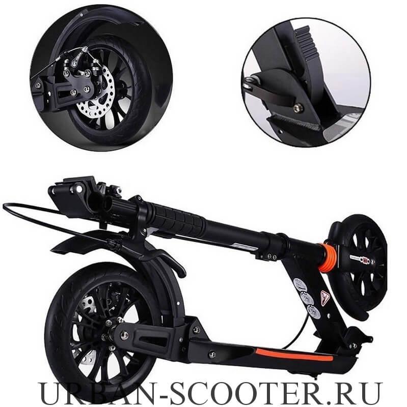 Городской самокат с дисковым тормозом Urban Scooter SR2-020 Чёрный - 5