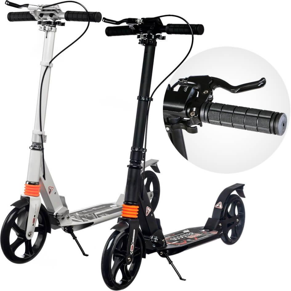 Городской самокат с ручным тормозом Urban Scooter Sport Чёрный и белый